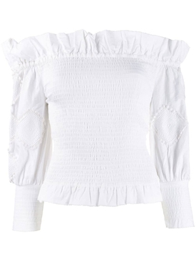 Off-shoulder frill trim top