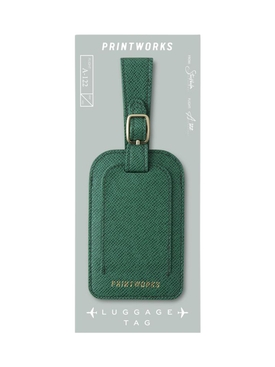 GREEN FAUX LEATHER LUGGAGE TAG