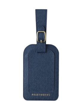 BLUE FAUX LEATHER LUGGAGE TAG