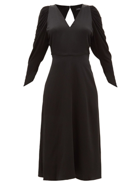 Open Back Long Sleeve Satin Dress