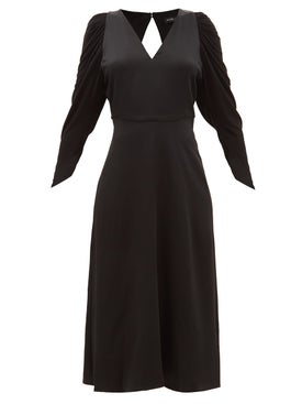 Atlein - Open Back Long Sleeve Satin Dress - Women