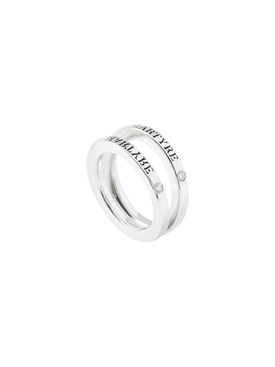 silver & diamond split ring