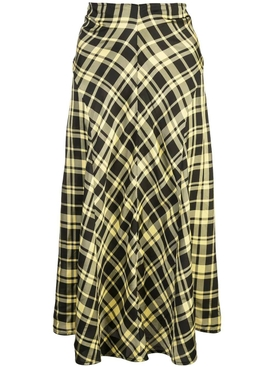 ruched plaid skirt