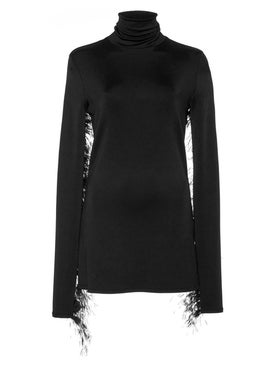Proenza Schouler - Black Feathered Turtleneck Top - Women