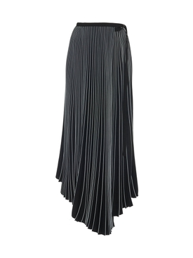 Asymmetrical Pleated Skirt BLACK
