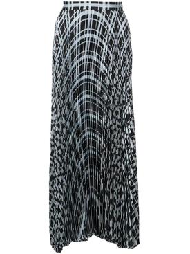 blue and black pleated chiffon skirt