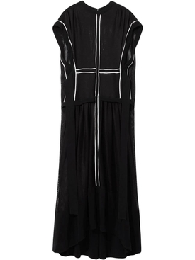 contrasting trim sheer dress