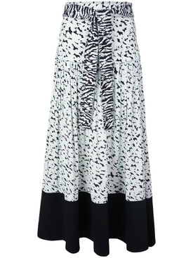Pleated zebra print skirt