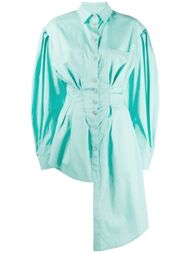 Green asymmetric buttoned down shirt