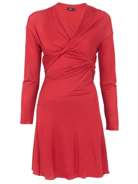 Viscose Twisted Dress Red