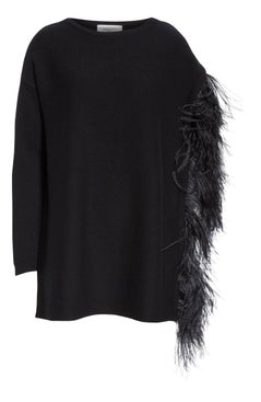 Valentino - Feather Sleeve Cashmere Sweater Black - Tops