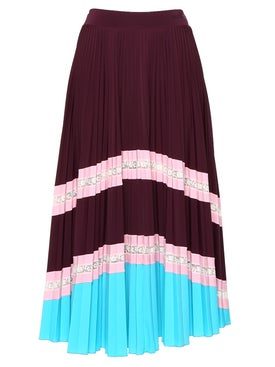 Valentino - Striped Tiered Pleated Skirt Red - Midi