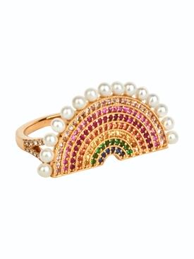 Multicolored stone rainbow ring