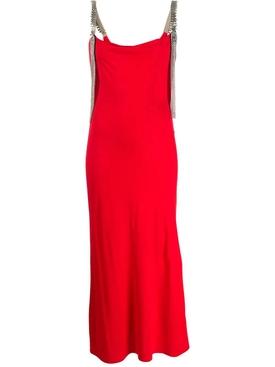 Red embellished strap dress