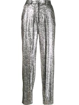 Silver sequin snake print pants