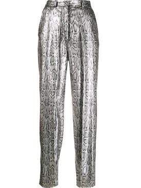 Christopher Kane - Silver Sequin Snake Print Pants - Women