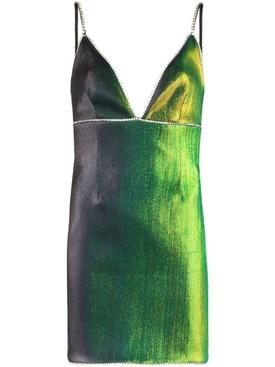 Green iridescent mini dress