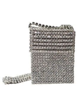 Area - Crystal Flapper Mini Bag, Silver - Women