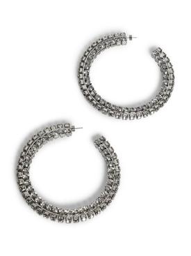 Crystal Silver tone Stacked Round Hoop Earrings