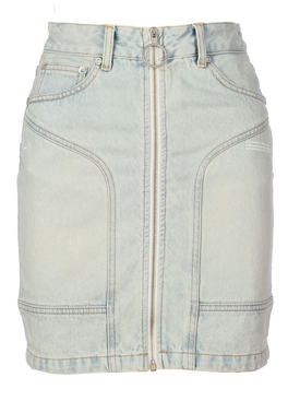 Bleach dye denim skirt