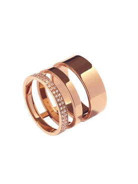 Gold Ring 3 Rows Rose Gold