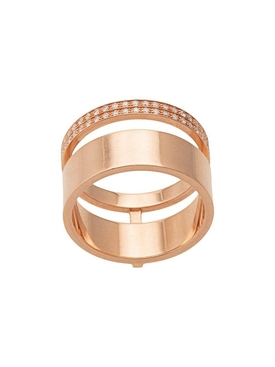 14kt yellow gold double band diamond ring