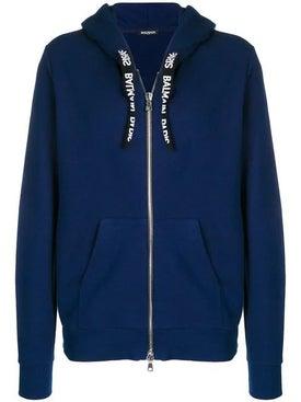 Balmain - Logo Drawstring Hooded Sweater Blue - Men