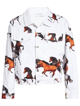 Horse print denim jacket