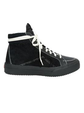 V1 Black leather and suede high top sneakers