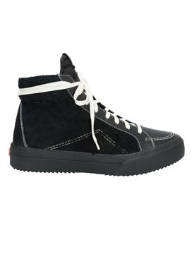 Rhude - V1 Black Leather And Suede High Top Sneakers - Men