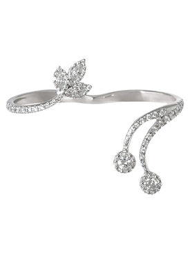 Leaf Diamond Two Finger Ring