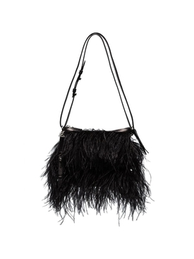 OSTRICH FEATHER SHOULDER BAG BLACK