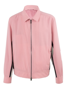 Contrasting side stripe jacket PINK