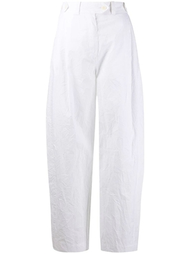 White wrinkle-effect pants