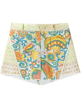 Flower Swirl paneled shorts