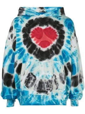 Over-sized heart tie dye hoodie