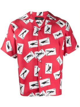 Amiri - Card Print Short Sleeve Silk Shirt Red - Men
