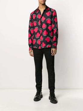 Silk heart print shirt