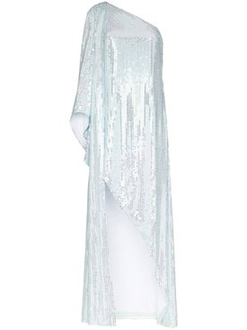 Halpern - Sequinned One Shoulder Gown - Women