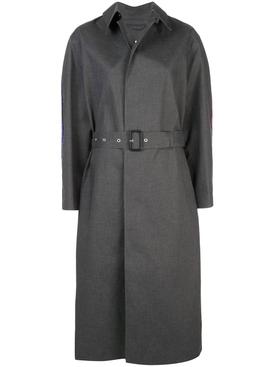 Belted back print coat