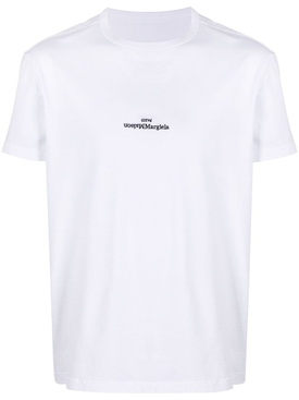 Embroidered inverted logo t-shirt WHITE