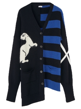Loewe - Blue And Black Asymmetric Cardigan - Women