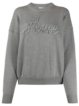 Grey ribbon logo sweater