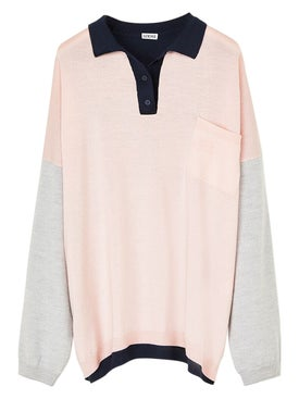 Loewe - Oversize Polo Neck Sweatshirt Pink, Grey, Navy Blue - Women