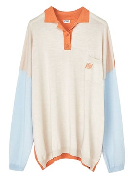 Loewe - Oversize Polo Neck Sweatshirt Orange, Light Blue, Beige - Women