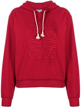 Red logo anagram hoodie
