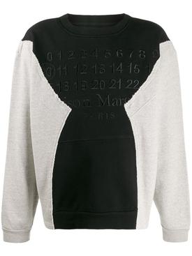 Deconstructed paneled logo sweatshirt BLACK/GREY