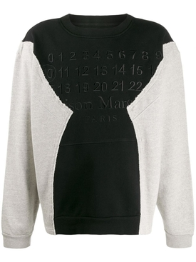 Maison Margiela - Deconstructed Paneled Logo Sweatshirt Black/grey - Men