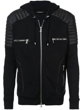 Balmain - Leather Patch Hoodie - Men
