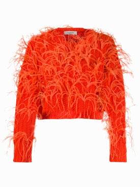 Valentino - Feathered Crop Sweater - Women